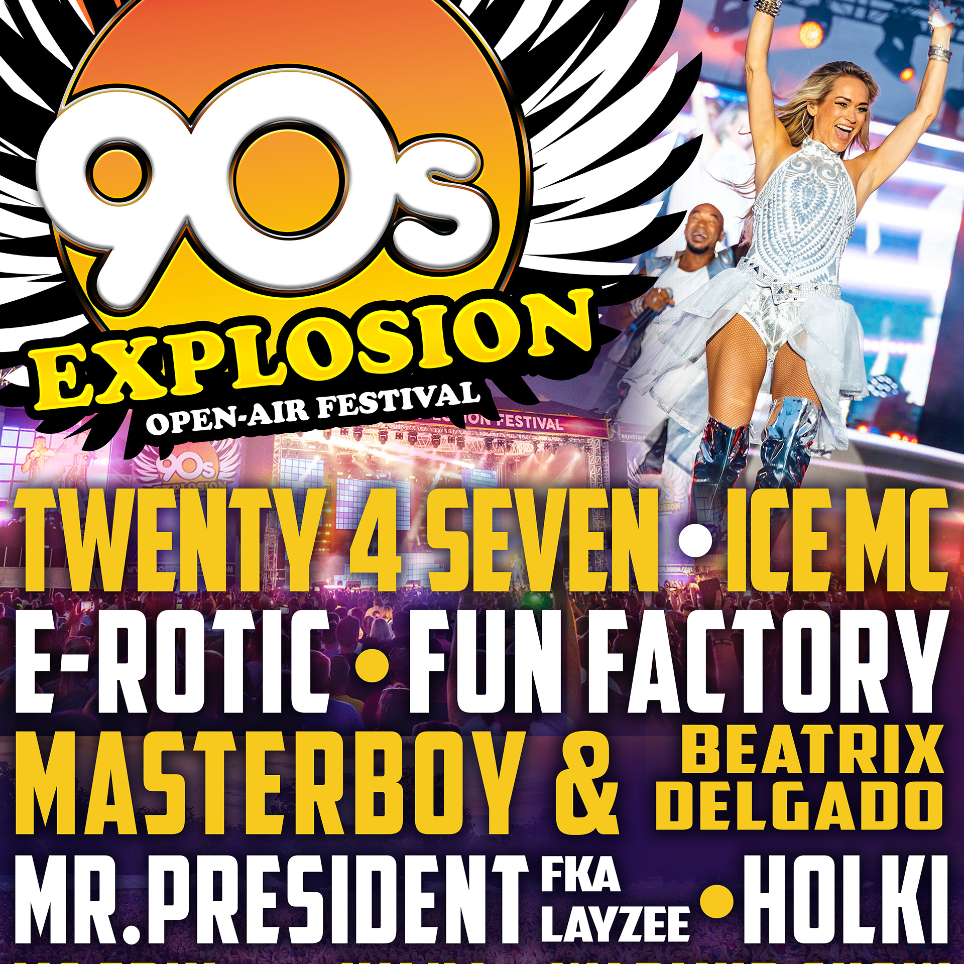 90s Explosion open-air festival Brno 2020<BR>Největší 90's festival na Moravě!<BR>Twenty 4 Seven, Mr. President, E-Rotic, Fun Factory, Masterboy a další..