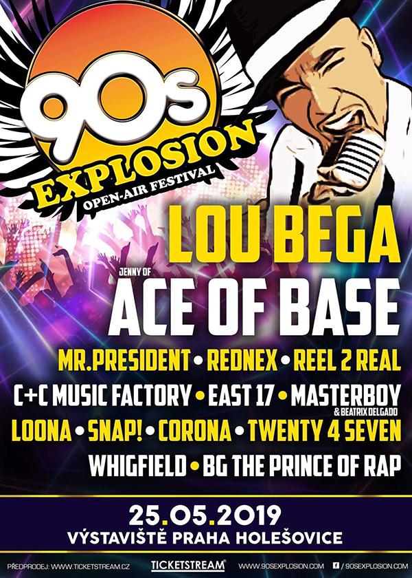 90s EXPLOSION OPEN-AIR FESTIVAL PRAHA 2019 festival nejlepších interpretů devadesátých let Lou Bega, Ace of Base, East 17, Snap!, Mr. President a mnoho dalších - Praha -Výstaviště Holešovice, Praha