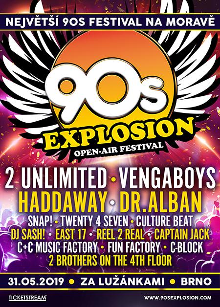 90s EXPLOSION OPEN-AIR FESTIVAL BRNO 2019 festival nejlepších interpretů devadesátých let 2 UNLIMITED, VENGABOYS, HADDAWAY, DR. ALBAN a mnoho dalších - Brno -Fotbalový stadion Za Lužánkami , 60200 Brno,