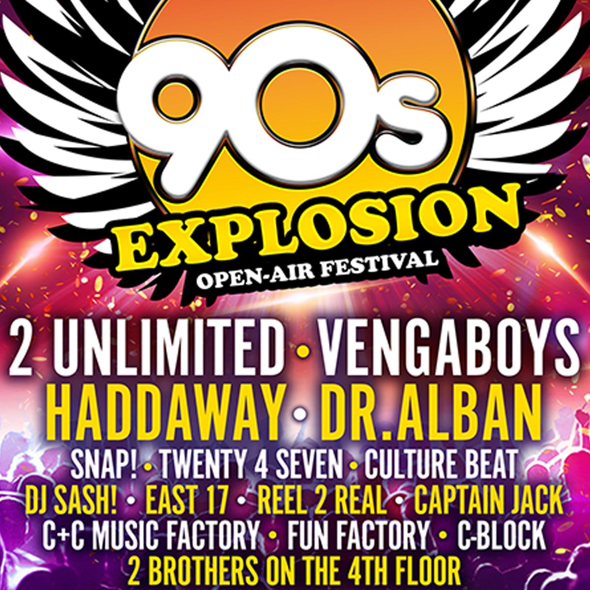 90s EXPLOSION OPEN-AIR FESTIVAL BRNO 2019<br><b><font color=red>PRODEJ VSTUPENEK POUZE NA MÍSTĚ</font></b>