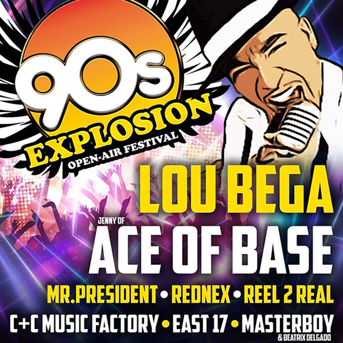 90s EXPLOSION OPEN-AIR FESTIVAL PRAGUE 2019<br>Lou Bega, Ace of Base, East 17, Snap!, Mr. President and more