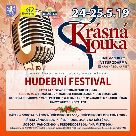 Festival Krásná louka 2019<br>Tomáš Klus / Marpo & TG / Škwor<br>Ben Cristovao / Bára Poláková