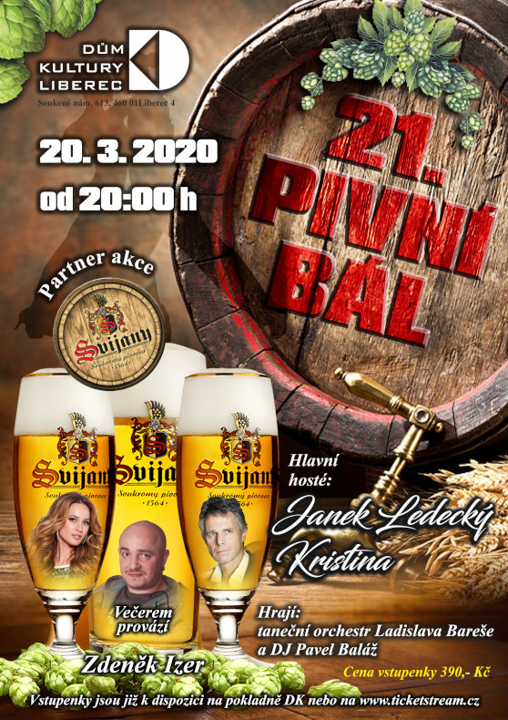 21. Pivní bál<br>Janek Ledecký, Kristina<br>večerem provází Zdeněk Izer