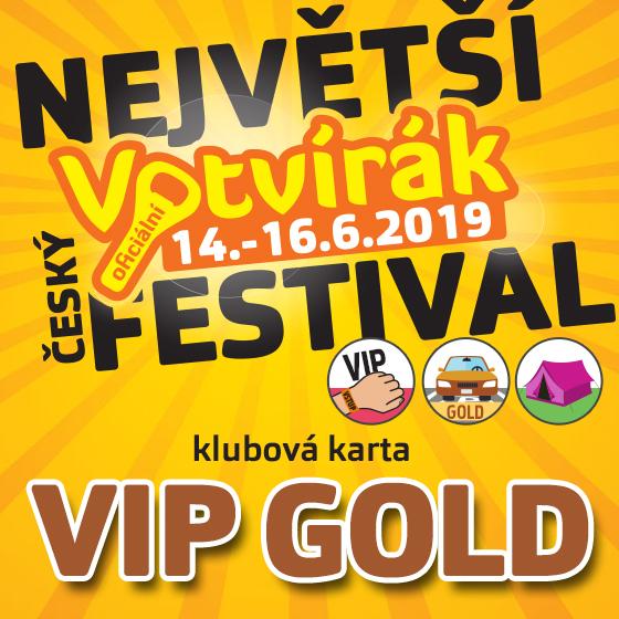 Festival Votvírák 2019<br>Největší hudební festival<br><b><font color=red>Klubová karta VIP GOLD</font></b>