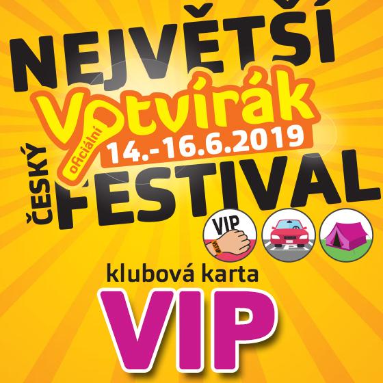 Festival Votvírák 2019<br>Největší hudební festival<br><b><font color=red>Klubová karta VIP</font></b>